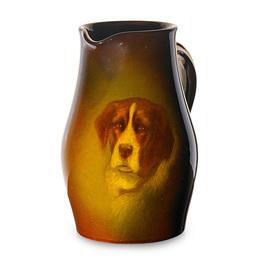 Standard Glaze pitcher with Saint Bernard dog, Cincinnati, OH