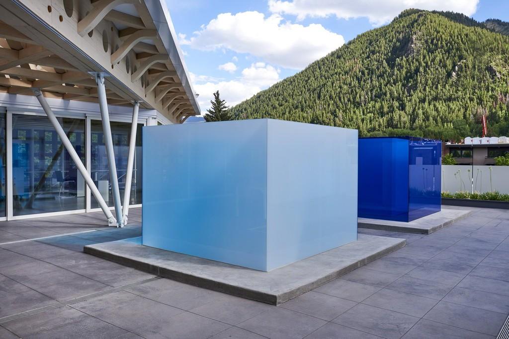 Installation view: Larry Bell, Aspen Blues, 2018. Photo: Tony Prikryl