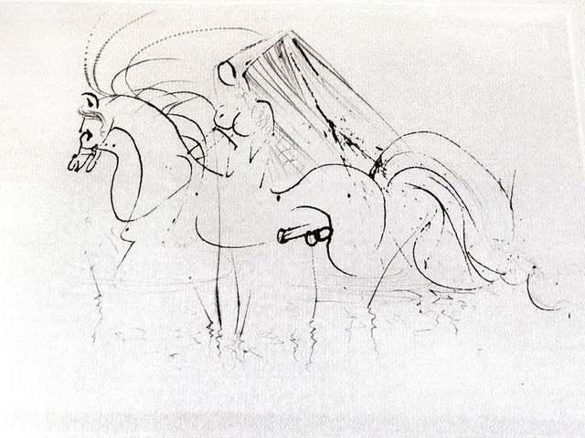 Salvador Dalí, 'Salvador Dali - Nude Riding - Original Etching on Silk', 1968, Galerie Philia