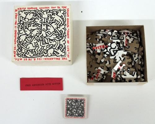 "Keith Haring, '""Party of Life"", Invite, Puzzle/Box Paladium NYC, (COMPLETE SET)', 1985, VINCE fine arts/ephemera"