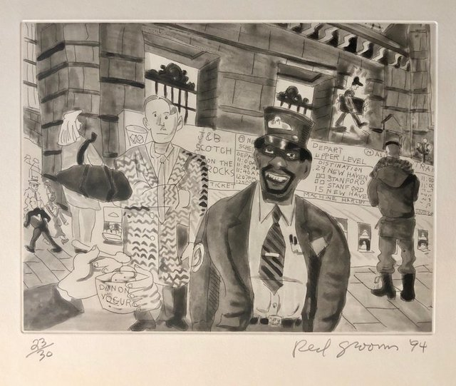 Red Grooms, 'Red Grooms Grand Central Train Subway Manhattan NYC Cartoon Aquatint Etching', 1990-1999, Lions Gallery
