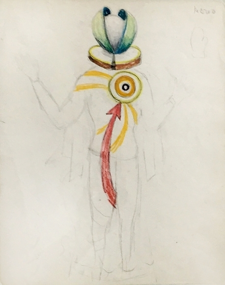Kurt Seligmann, 'Untitled (Study for the ballet The Golden Fleece: An Alchemistic Fantasy)', Drawing, Collage or other Work on Paper, Pencil and crayon drawing on paper, Dean Borghi Fine Art