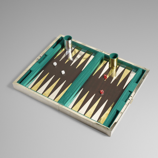 'Backgammon set', c. 1980, Other, Silver, goldplate, mahogany, felt, Rago/Wright