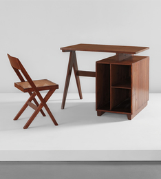 Administrative desk, model no. PJ-BU-07-A, and library chair, model no. PJ-SI-51-A, designed for administrative buildings and Punjab University Library, Chandigarh