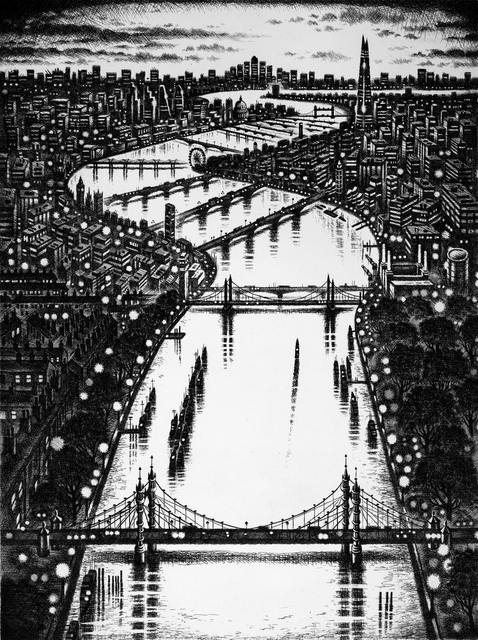 , 'Thames Bridges East,' 2015, Royal Society of Painter-Printmakers
