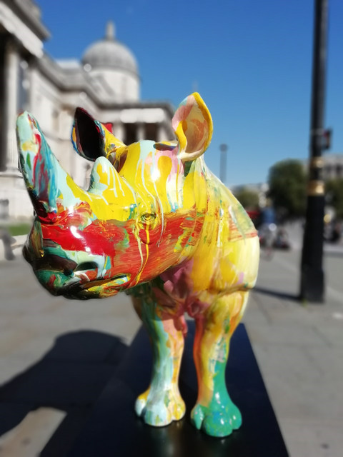 Harland Miller, 'Hate's Outta Date!', 2018, Sculpture, Rhino: fibreglass rhino (fire retardant) with internal armature Finish: Acrylic and varnishes, Tusk Benefit Auction