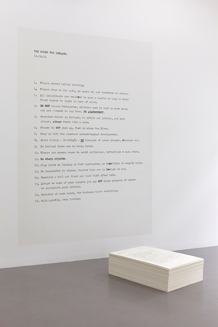 , 'Rules for Iceland,' 2014, i8 Gallery