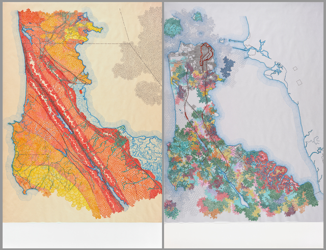 Tiffany Chung, 'San Francisco, 1895 USGS map: distribution of apparent intensity based on Rossi-Forel scale, the known faults, and the routes examined; San Francisco, 1907 USGS map: the burned district, the city, and the principal conduits in the water', 2012, San Francisco Museum of Modern Art (SFMOMA)