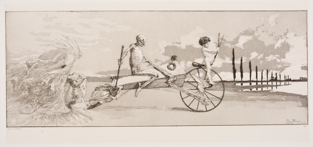 , 'Cupid, Death, and the Beyond (Amor, Tod und Jenseits), plate 12 from Intermezzi (Radierung Opus IV),' 1881, Davis Museum