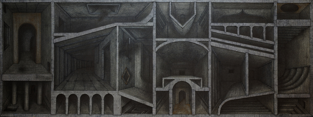 Hong Buhm, 'the rooms of olivion', 2020, Drawing, Collage or other Work on Paper, Ink, graphite, metalic pigments on paper, Gallery SoSo