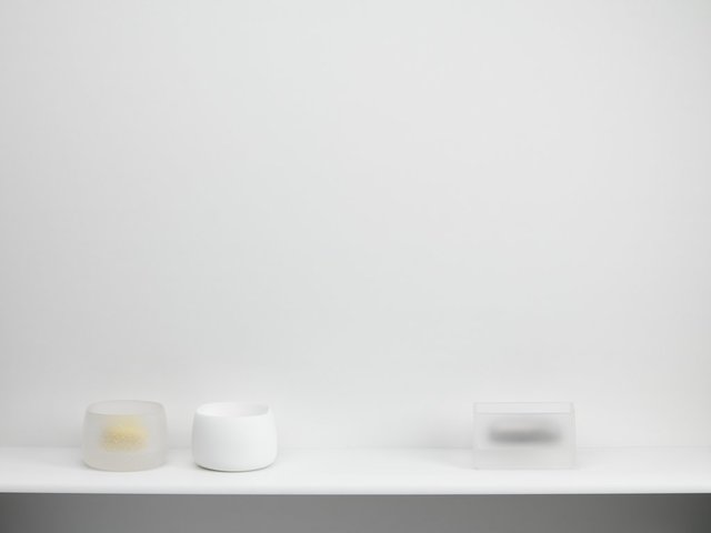 , 'Collection of Contained Boxes on a White Plinth [Clear Frit & Gold, White & White and Clear and Platinum],' 2018, Taste Contemporary