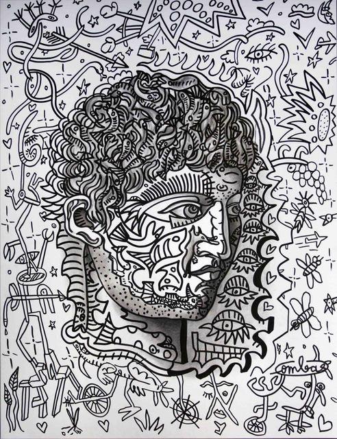 , 'Portrait en auto-tampon pas vraiment ressemblant malgré les poissons volants foisonnant sur sa tête. Homme de l'eau, homme de terre. C'est le Terre-EAU,' 2018, Galerie Laurent Strouk