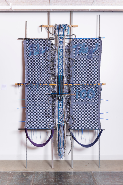 Kira Dominguez Hultgren, 'Bridge: We/They', 2019, Textile Arts, Handspun and industrially spun wool, cotton thread, indigo-dyed ramie, wool mill ends, rayon, acrylic and other novelty yarn, metallic thread, organic cotton t-shirt yarn and fabric, nylon and polyester climbing rope from Berkeley Ironworks Climbing Gym, plastic rods, found wood and metal, frame bars, and zip ties., Eleanor Harwood Gallery