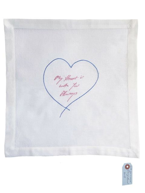 Tracey Emin, 'My Heart Is With You Always - Embroidered Napkin', 2015, Mixed Media, Embroidered cotton napkin with hand signed, dated swing tag, Lougher Contemporary
