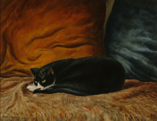 John Steuart Curry, 'Black Cat Sleeping', Painting, Oil on canvas, Kiechel Fine Art