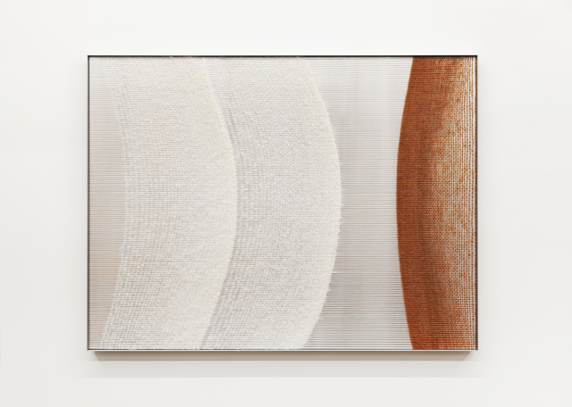 Mimi Jung, '081517 White and Rust Ellipses', 2020, Textile Arts, Mohair, cotton, aluminum sheet and aluminum frame, Carvalho Park