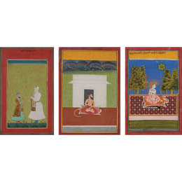 Three Artworks: A portrait of Nizam-ul-Mulk and his son Nasir Jung; portrait of a man seated on a leopard rug; portrait of Krishna seated on a tiger rug under the night sky