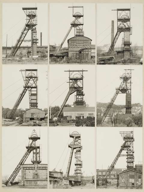 Bernd and Hilla Becher, 'Fördertürme Stahl (Winding Towers)', 1972, 9 gelatin prints mounted to board, Sotheby's: Contemporary Art Day Auction