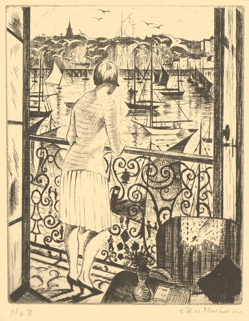 , 'Woman at a Balcony, Dieppe,' 1928-1929, Osborne Samuel