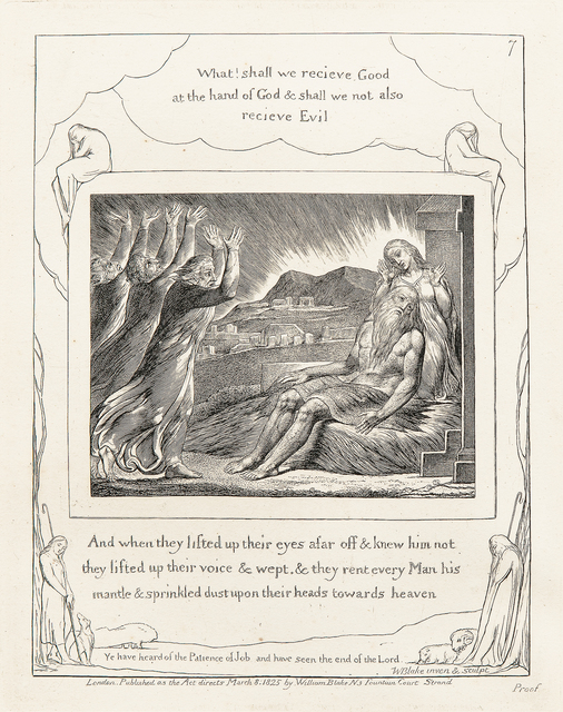William Blake (1757-1827), 'What! Shall we recieve [sic] Good at the hand of God..., from The Book of Job', 1825, Print, Etching on paper, Skinner