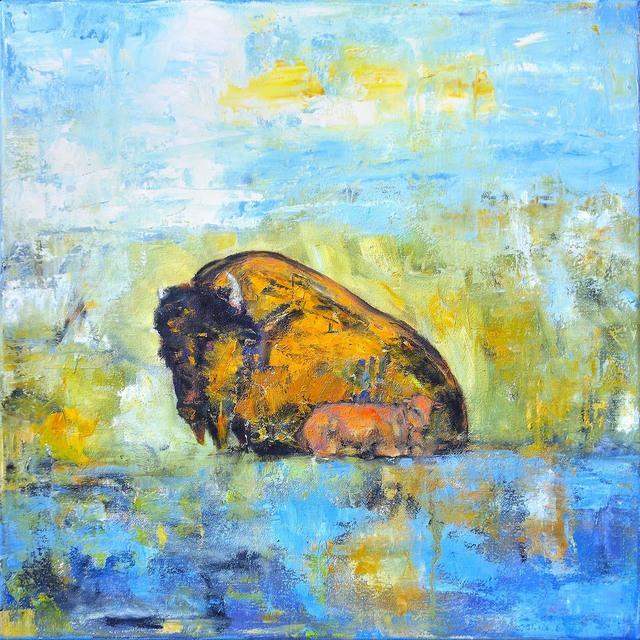 , 'Bison on Prairie with Calf,' 2018, Mirada Fine Art