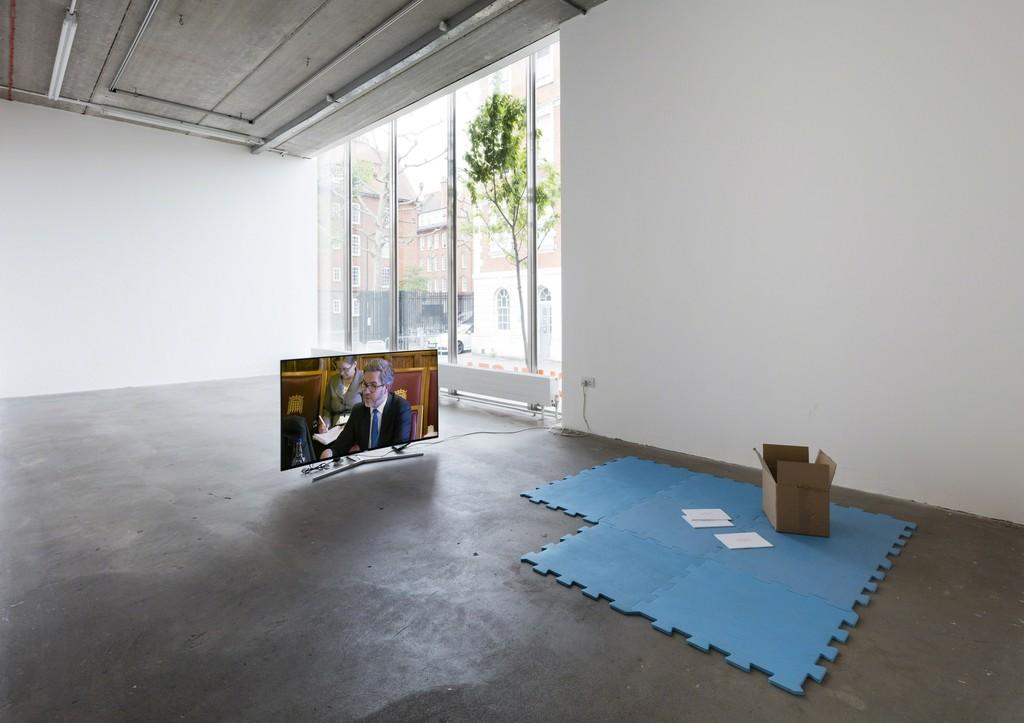 Main Space with Viola Yeşiltaç, 'Wild Cherry' 2017 and Tyler Coburn, 'Catalogue raisonné' 2017 (Essay). Courtesy of the artist