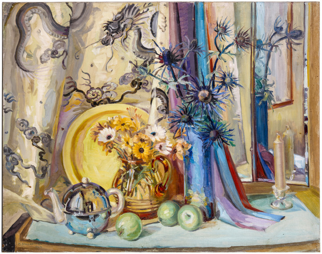 Mary Ballantine, 'Summer flowers and apples', 1944, Painting, Oil on canvas, unframed, Chiswick Auctions