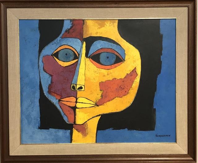 Oswaldo Guayasamín, 'Cabeza de Niña con fondo Azul ', 1995, Painting, Oil on Canvas, Galería Duque Arango