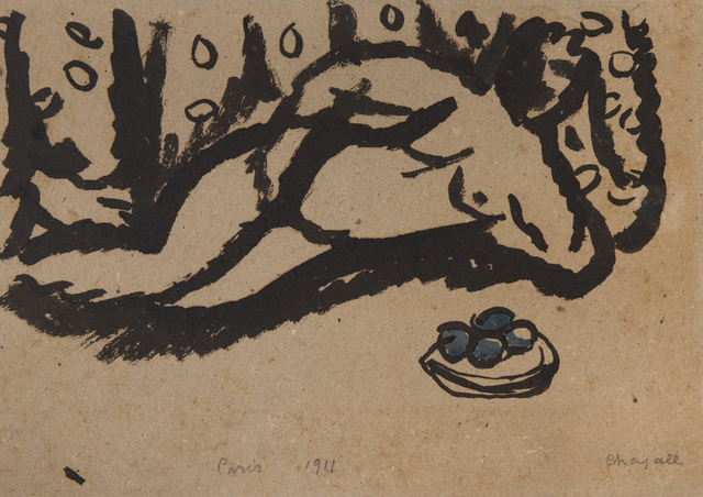 Marc Chagall, 'Nu aux pommes', 1911, Drawing, Collage or other Work on Paper, Indian ink and watercolor on paper, HELENE BAILLY GALLERY