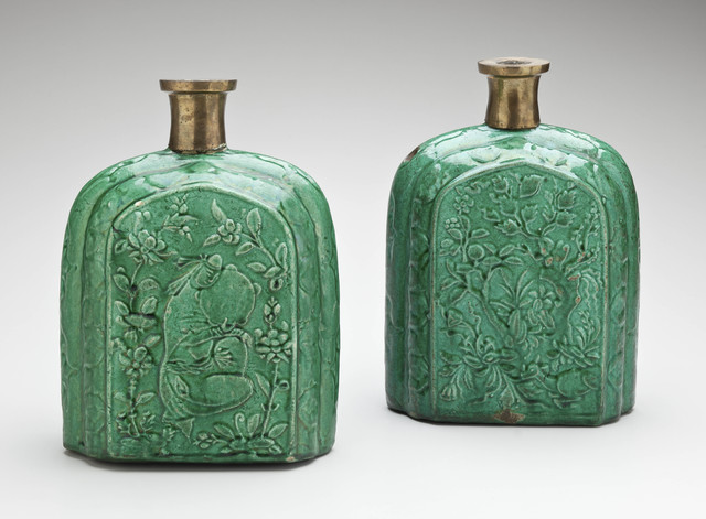 , 'Pair of Pilgrim Bottles with Molded Floral and Figural Motifs; Iran,' Early 17th century, Newark Museum