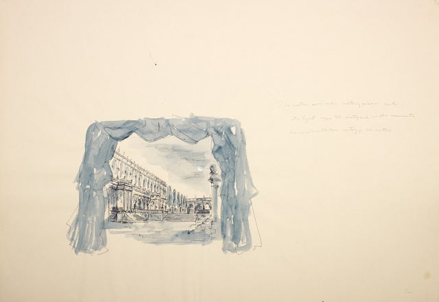 ", 'Moon over Versaille (stage set drawing from ""Before the Revolution""),' 1978, Diane Rosenstein"