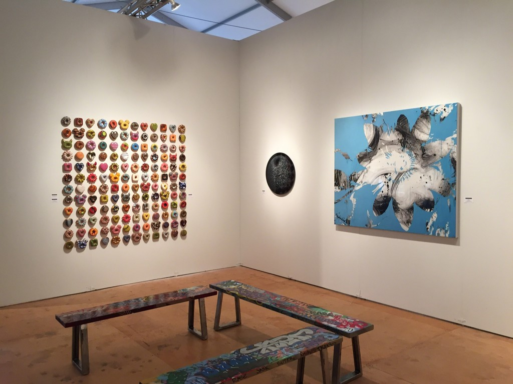 "(from left) Jae Yong Kim ""Donut Rush"" ceramic installation, (center) Angelo Musco ""Monocle"", (right) Jeff Muhs ""Flower Confidential"""
