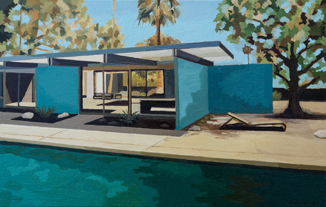 Andy Burgess, 'Wexler Family Home, Blue Walls', 2019, Painting, Oil on Panel, Cynthia Corbett Gallery