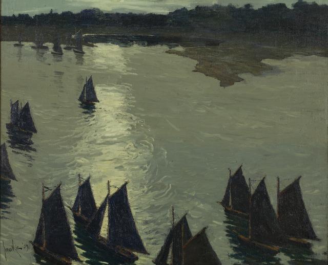 Jonas Lie, 'Harbor Scene, Cape Ann', 1909, Painting, Oil on rough-weave linen, Montclair Art Museum