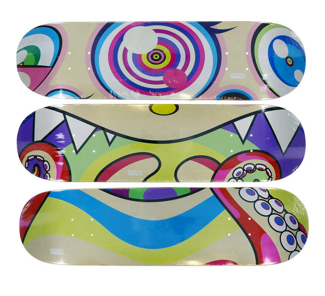 Takashi Murakami, 'Complexcon Skateboard decks set of 3', 2017, Print, Screenprint on wood, EHC Fine Art Gallery Auction