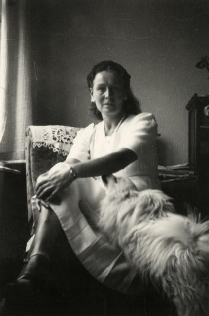 , 'Georgette Magritte et Jackie, son chien dans l'appartement du Coq sur Mer,' 1947, Bruce Silverstein Gallery