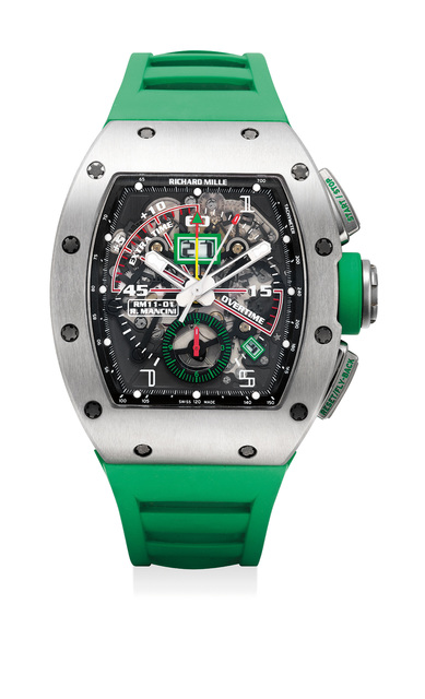 Richard Mille, 'An exceptional and attractive skeletonized titanium fly-back chronograph wristwatch for football timing with annual calendar with date and month indications, tachymeter scale and warranty', Circa 2014, Phillips