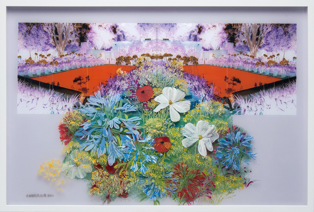 Gail Norfleet, 'Astiria, Cosmos, and Poppies', 2017, Painting, Acrylic, photo and cut paper collage on two Lucite panels, Valley House Gallery & Sculpture Garden