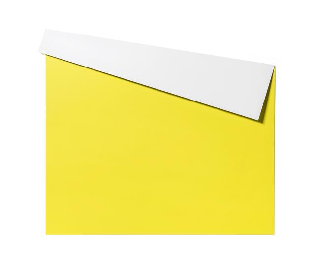 , 'XL Folded Flat White & Yellow 01,' 2019, Galerie Nikolaus Ruzicska