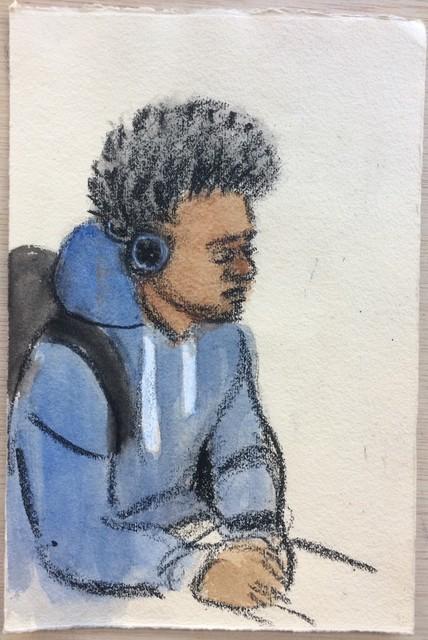 , 'Blue Sweatshirt, White Strings,' 2017, Ground Floor Gallery