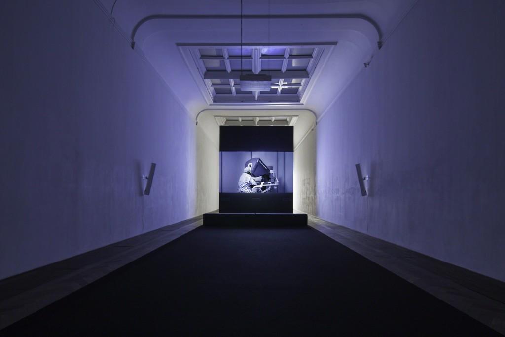 "Yuri Ancarani, installation view, ""Sculture,"" view on ""Da Vinci,"" 2012, Kunsthalle Basel, 2018.  Photo: Nicolas Gysin / Kunsthalle Basel"