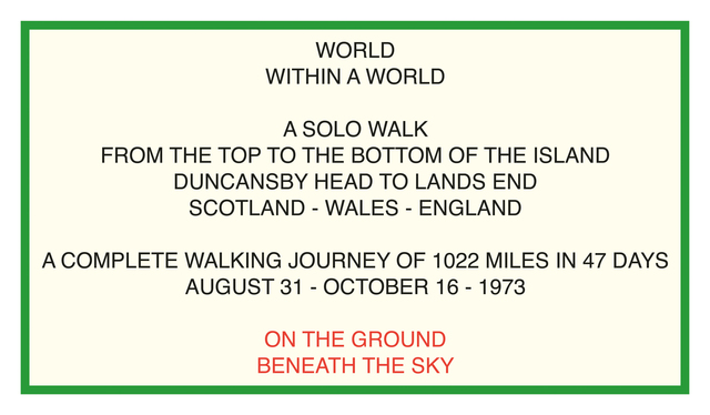 , 'World Within A World, Duncansby Head to Lands End, Scotland Wales England, 1973,' 1973, Parafin