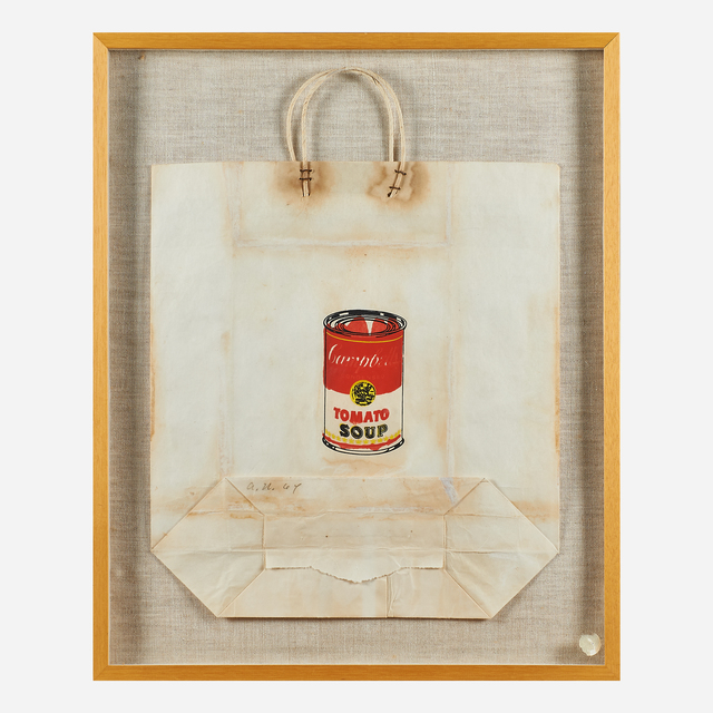 Andy Warhol, 'Campbell's Soup Can on Shopping Bag', 1964, Print, Screenprint in colors on a paper bag (framed), Rago/Wright