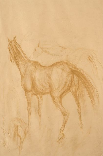 """, 'Early Horse III, Drawing, Conte on Paper, Brown & Black by Indian Artist """"In Stock"""",' 1959, Gallery Kolkata"""