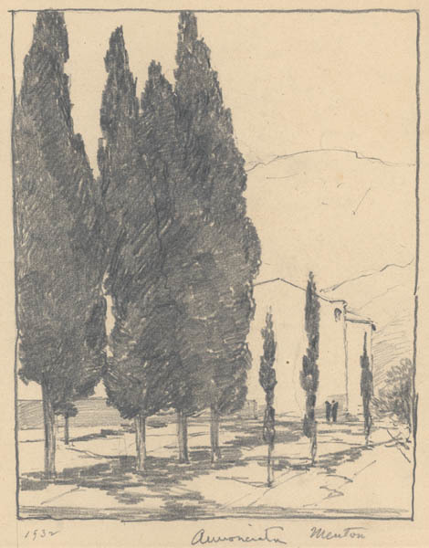 Chauncey Ryder, 'L'Annunciata [Menton, French Riviera]', 1932, Drawing, Collage or other Work on Paper, Pencil on paper, Childs Gallery