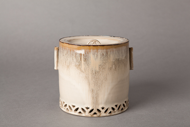 , 'Water container (mizusashi) with stoneware lid, cylindrical handles, and shippo design openwork,' , Pucker Gallery