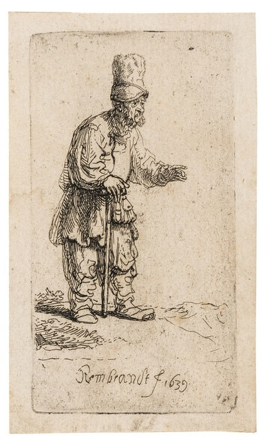 Rembrandt van Rijn, 'A Peasant in a High Cap, Standing Leaning on a Stick', 1639, Forum Auctions