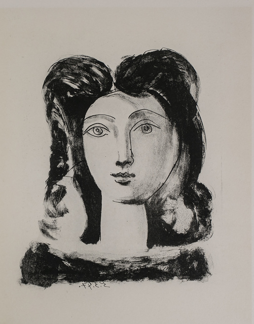 Pablo Picasso, 'Tete De Jeune Fille (Youth's Head), 1949 Limited edition Lithogrph by Pablo Picasso', 1949, White Cross
