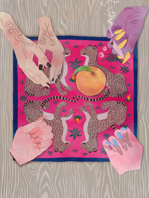 , 'Four Girls, One Peach (with vintage Hermes scarf),' 2017, Eutectic Gallery