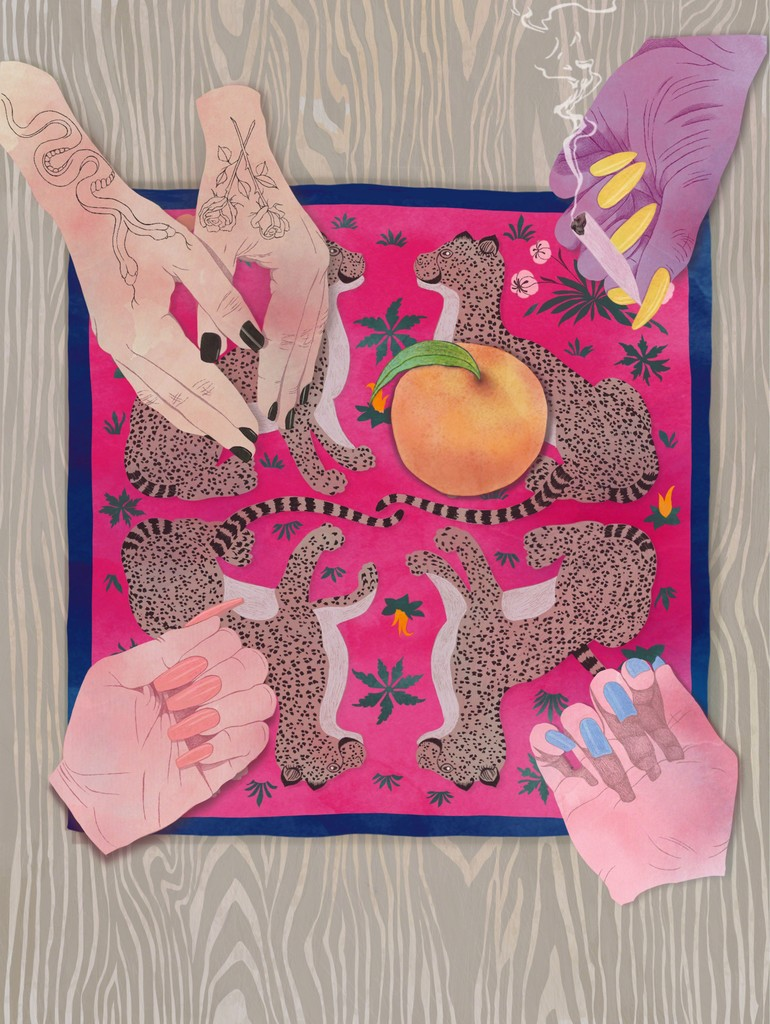 Four Girls, One Peach (with vintage Hermes scarf)